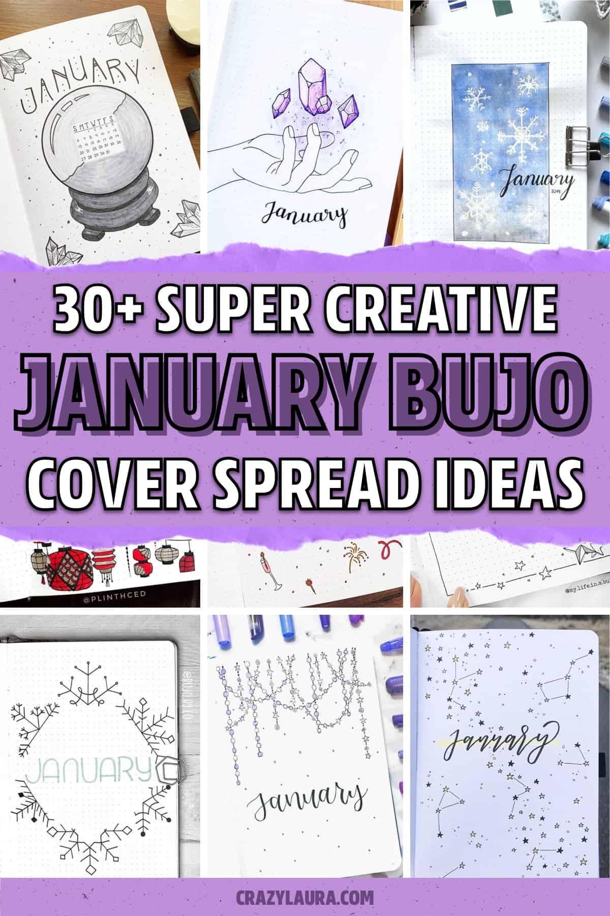 january dot journal cover ideas