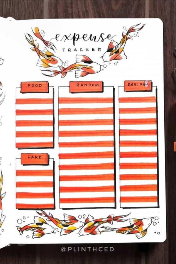 orange koi themed tracker