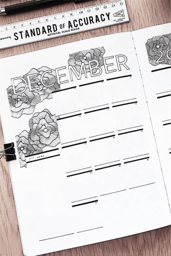 bullet journal layout ideas for december