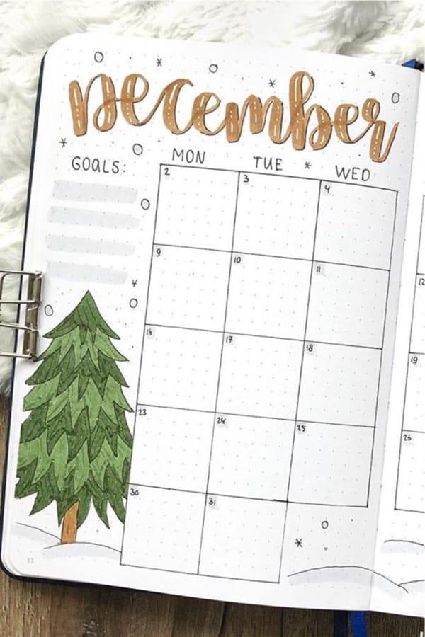 bullet journal monthly spread for december