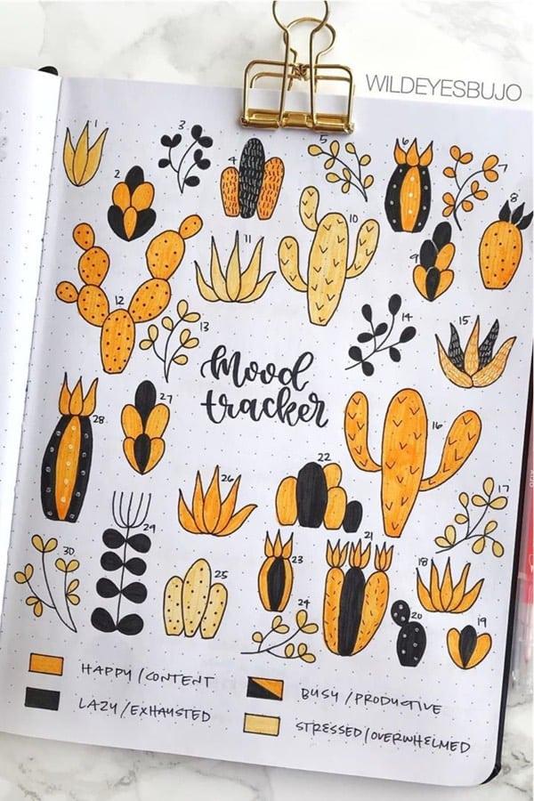 orange cactus bullet journal spread