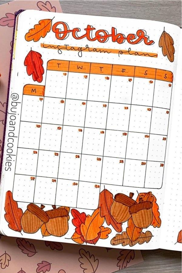 orange leaf themed bujo spread