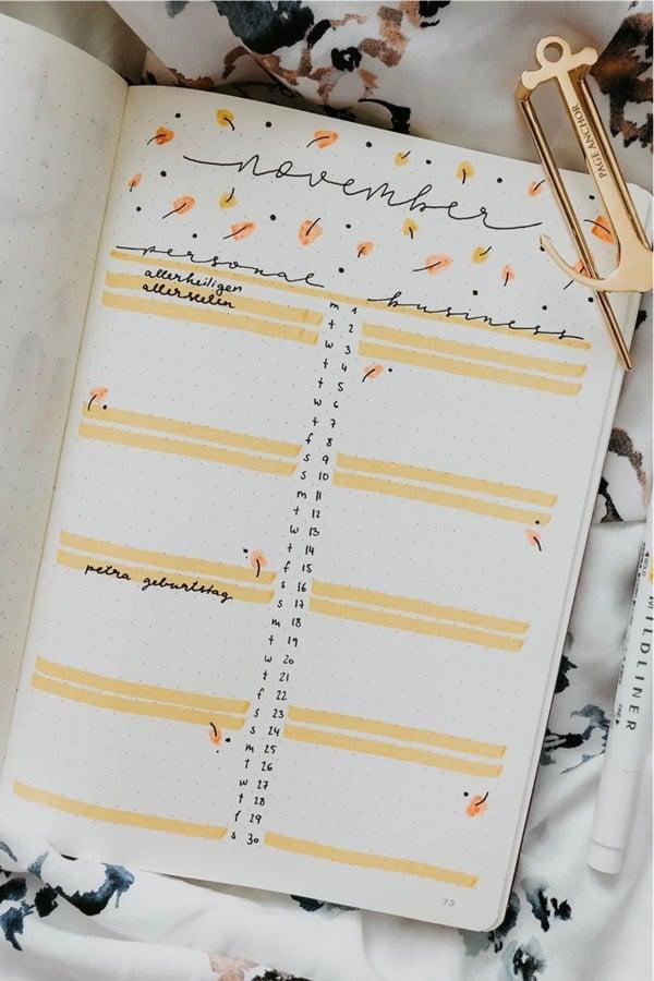 easy bullet journal spreads in orange