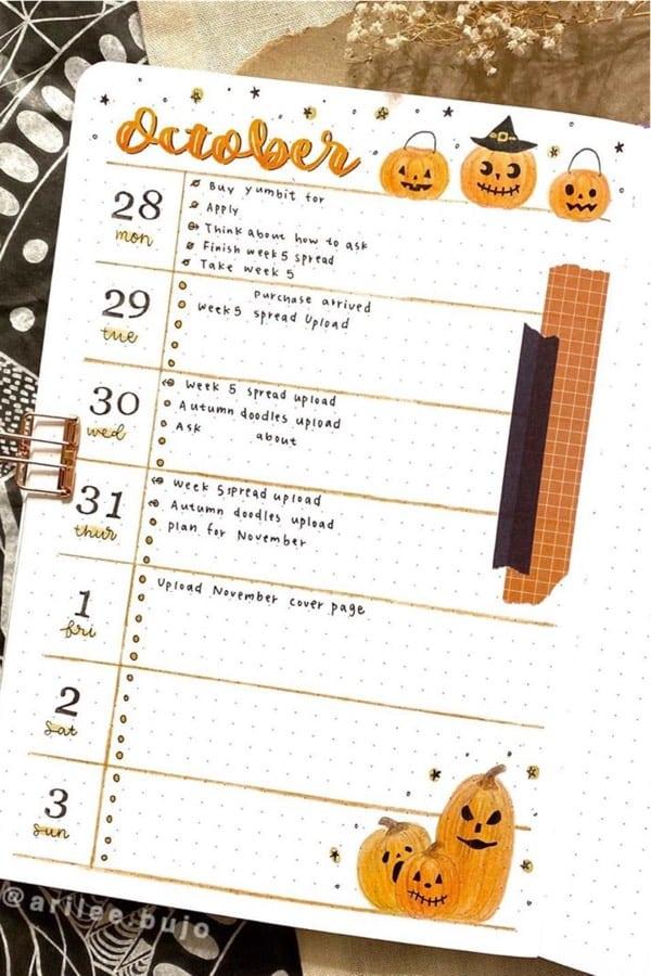 best bujo theme ideas in orange