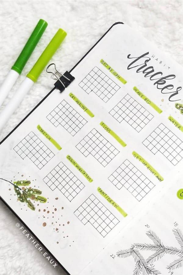 december themed bujo tracker ideas