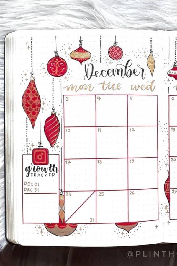 red themed december bujo spread