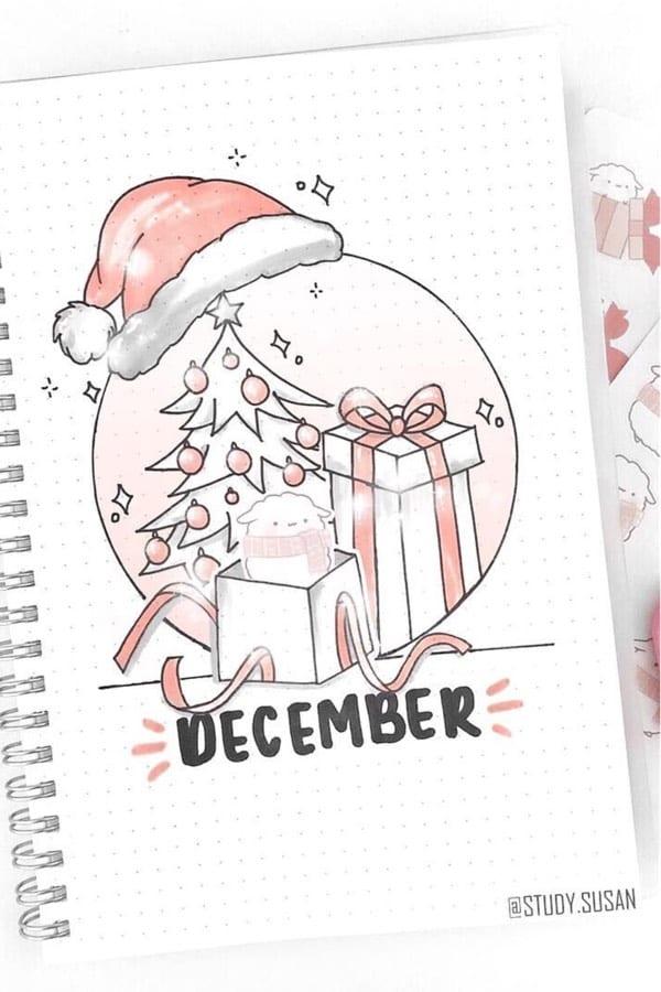 december bujo cover with santa