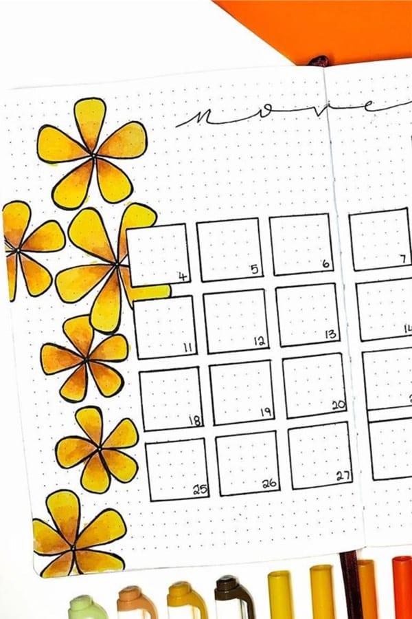 orange themed flower spread