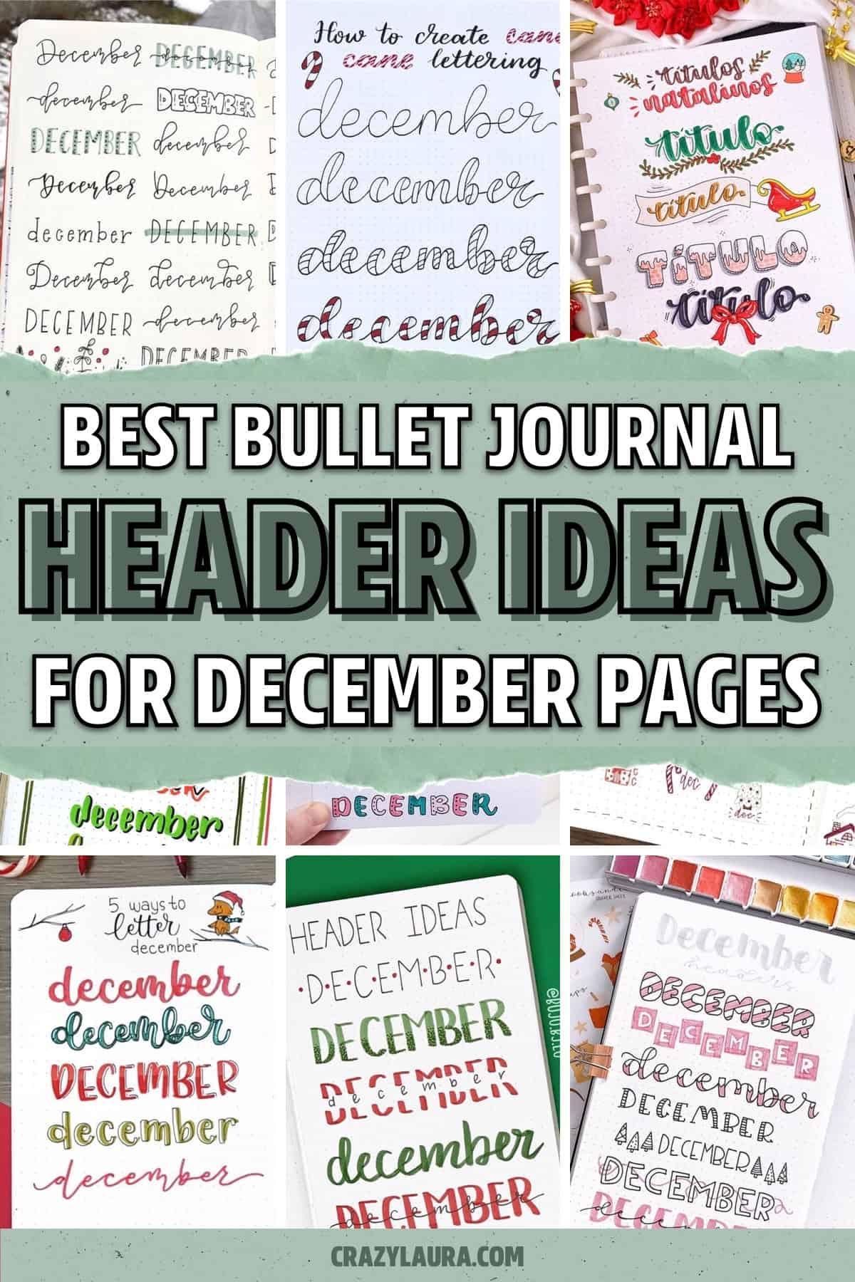 list of december dot journal headers