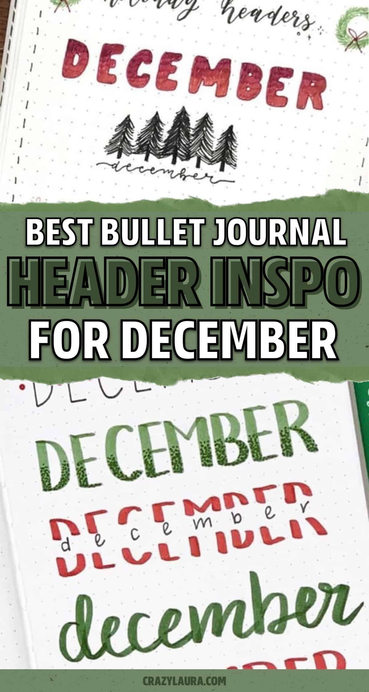 december themed bujo header ideas