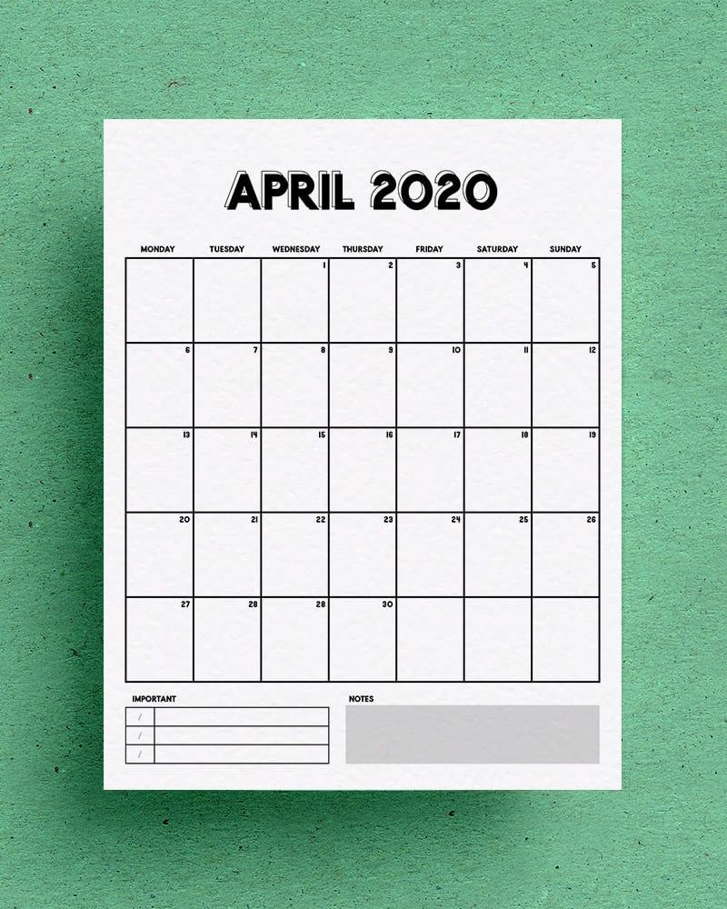 blank template for vertical calendar