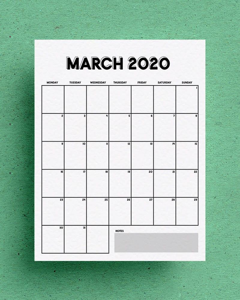 blank 2020 vertical calendar printable