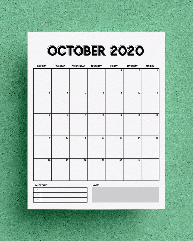 vertical october calendar download