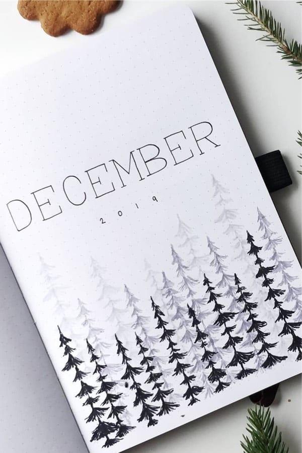 simple bujo cover for december
