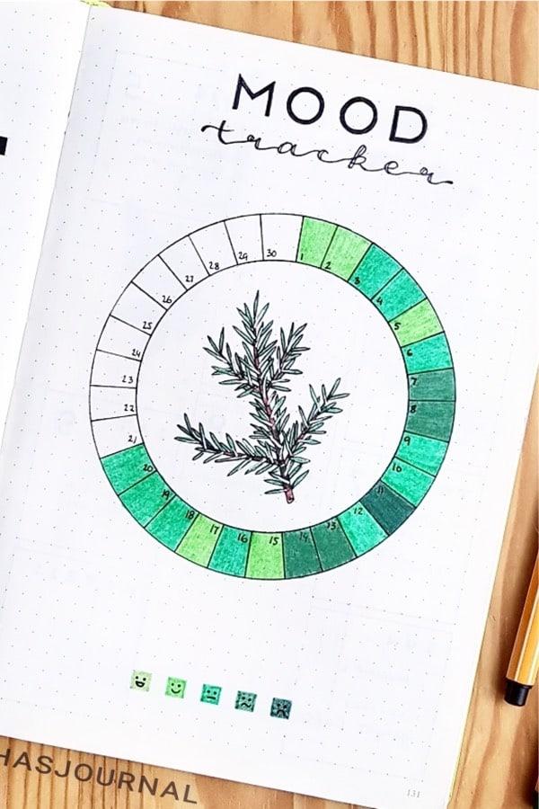green bullet journal mood tracker