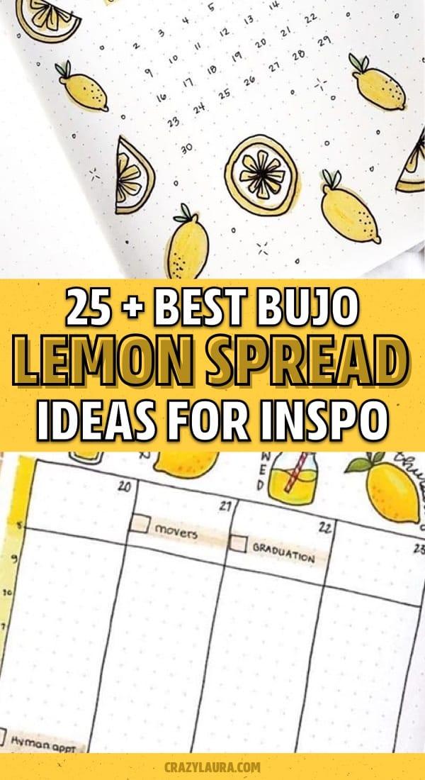 collection of lemon bujo inspiration
