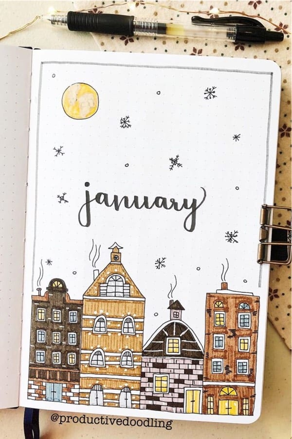 bullet journal cover page for jan