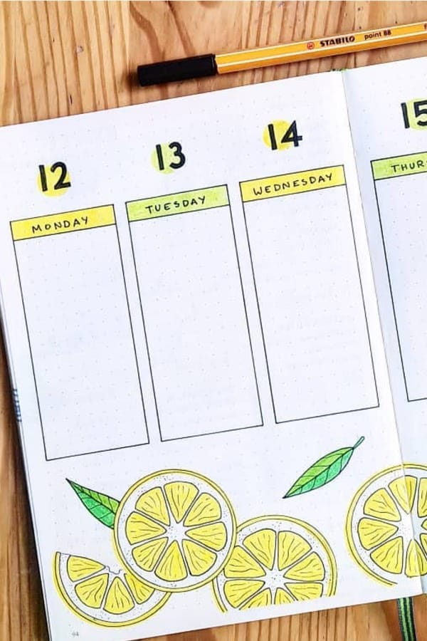 lemon themed ideas for bullet journal