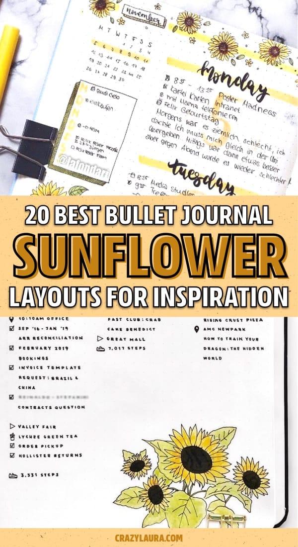 inspiration for sunflower bujo spreads