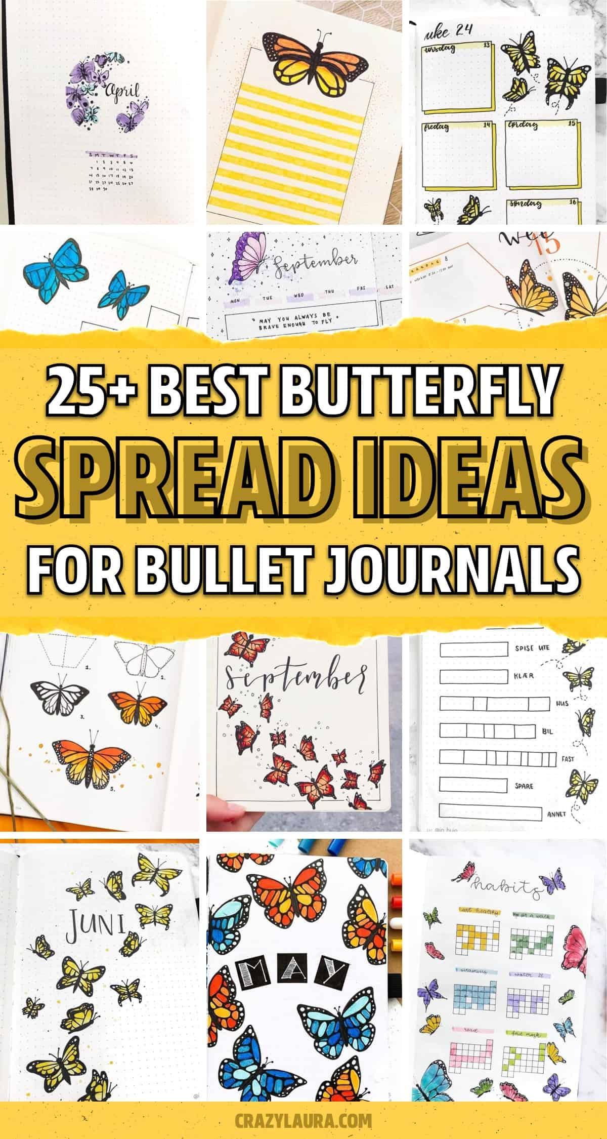 bujo spread ideas with butterfly theme