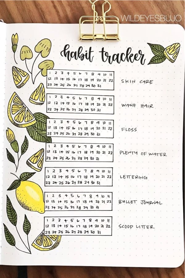 best lemon themed bujo spreads