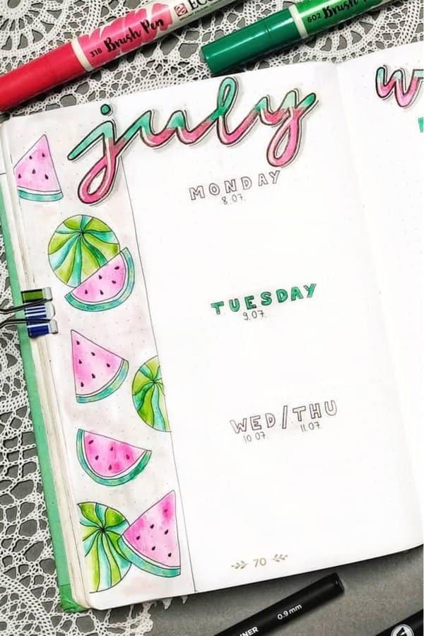 july bullet journal spread