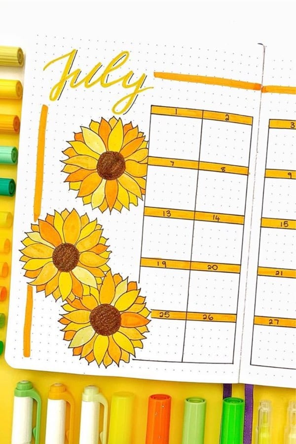 july spread with sunflowers