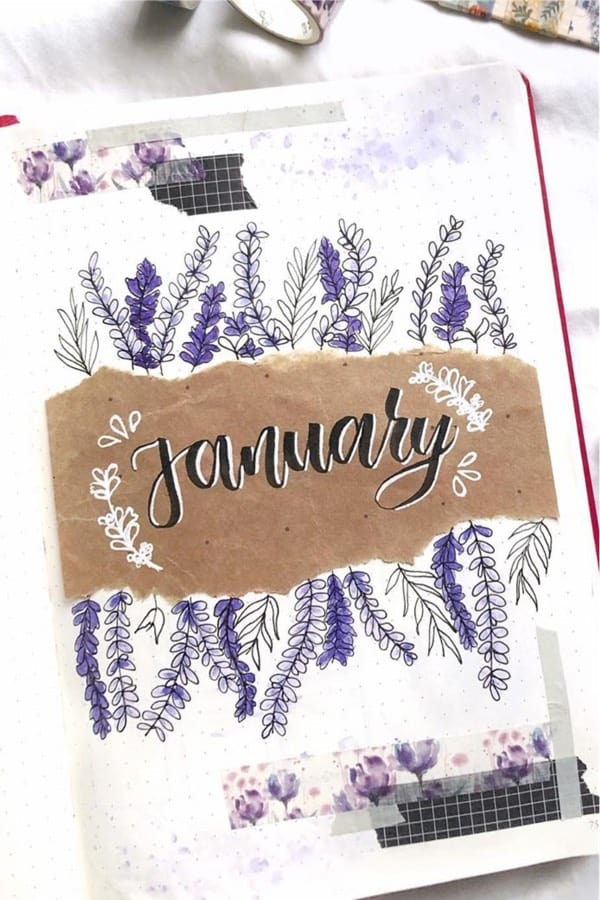 january monthly cover with lavendar theme