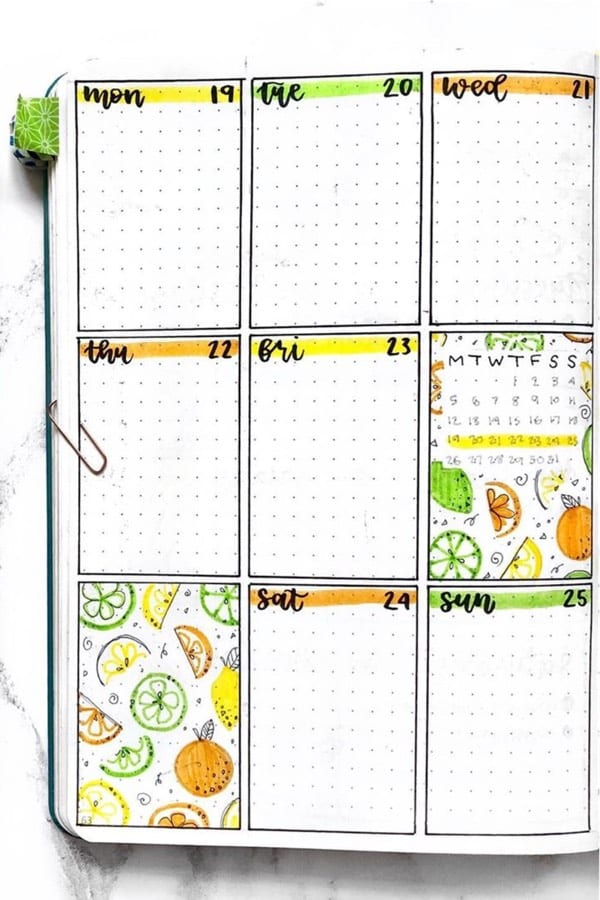 bujo theme example with lemon doodle