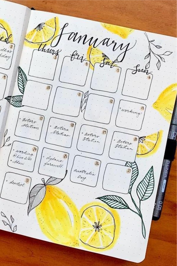 creative lemon monthly layout