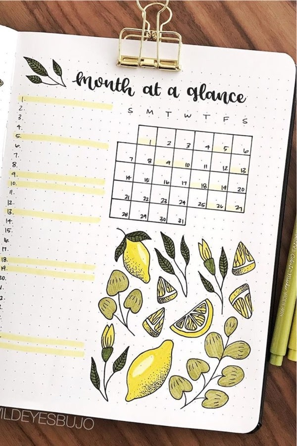 layout ideas for bujo with lemonade theme