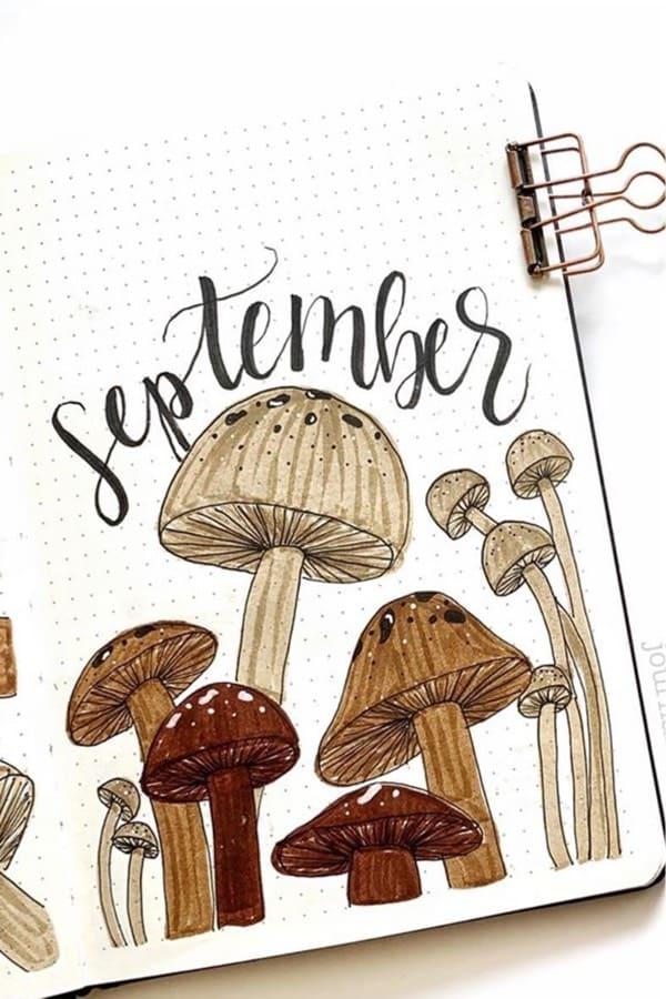 bujo cover spread for september