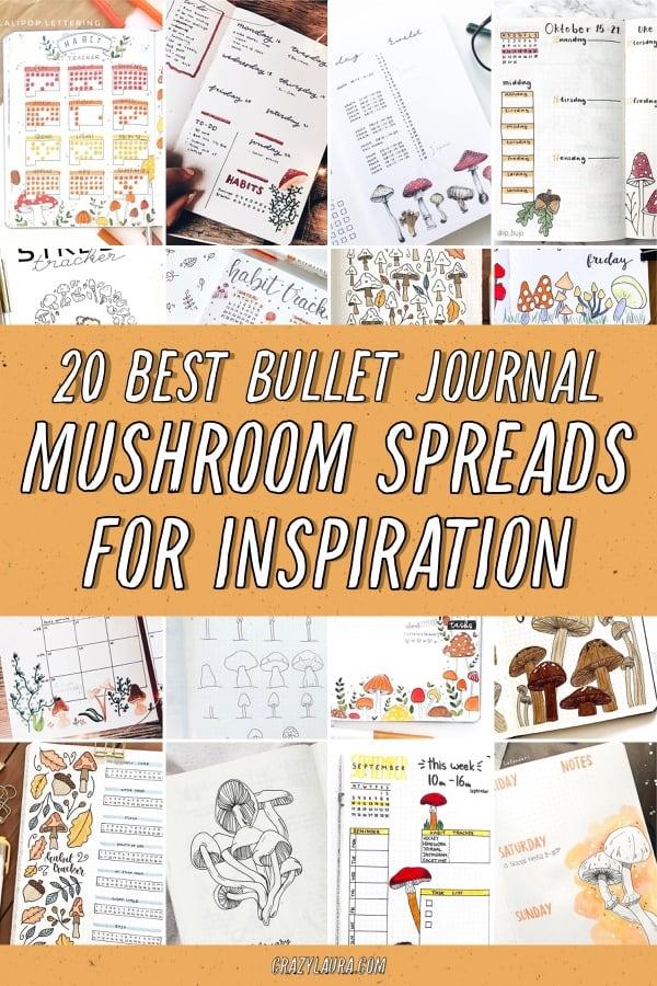 collection of mushroom themed bujo ideas