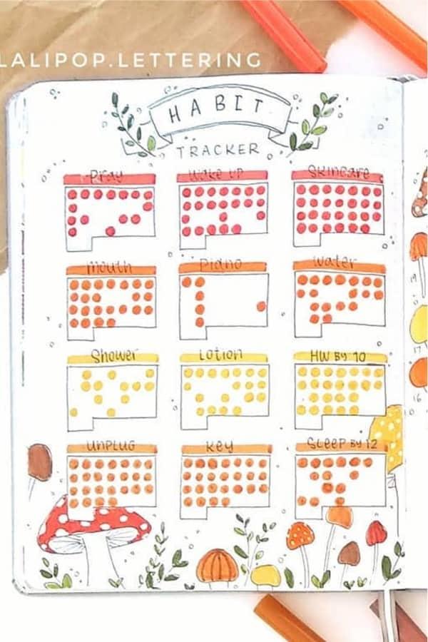 habit tracker with mushroom theme