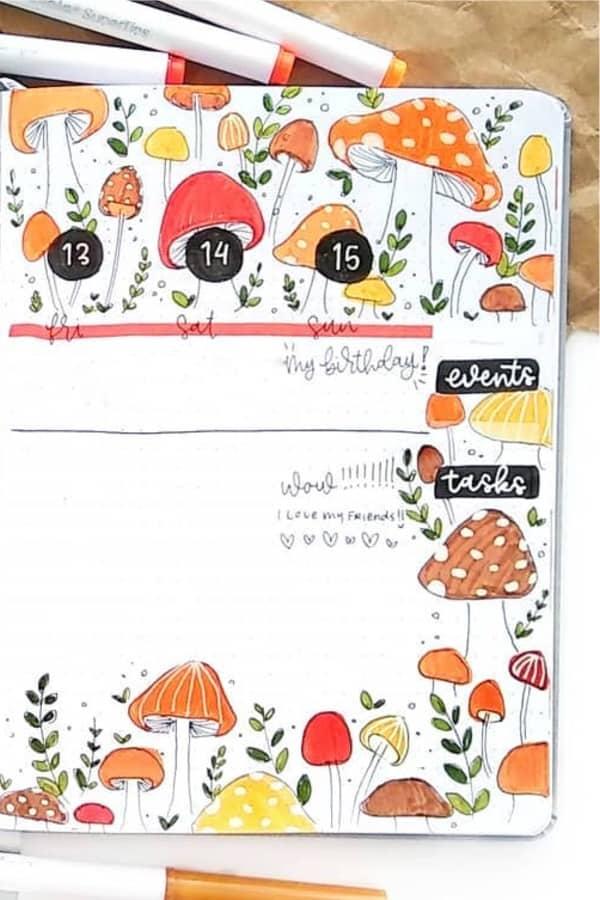 bujo weekly spread with mushroom theme