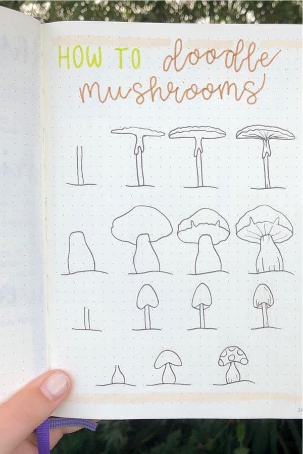 doodle tutorial for bujo mushrooms
