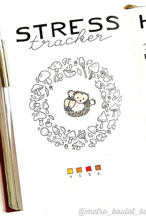 mushroom themed bullet journal tracker