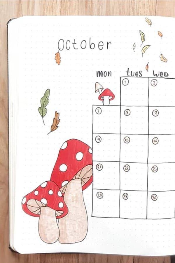 mushroom themed monthly spread