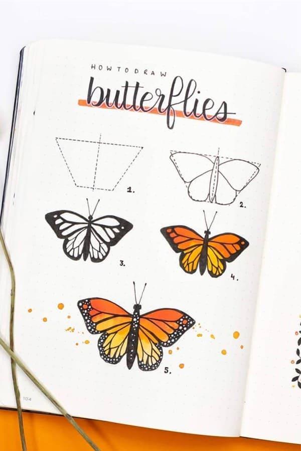 butterfly bullet journal doodle