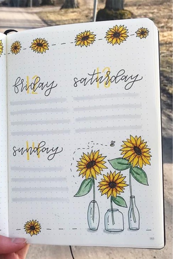 yellow flower themed bujo layouts