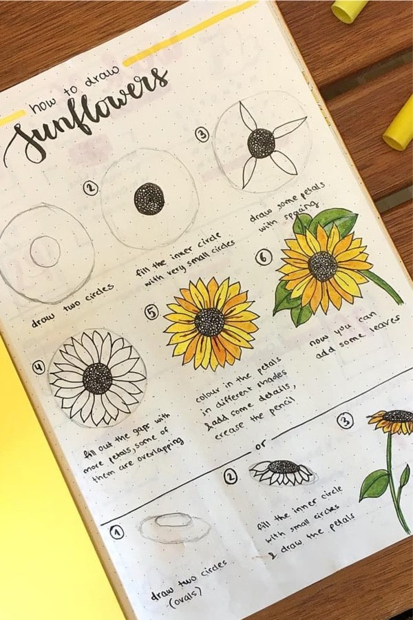 doodle tutorial for sunflowers