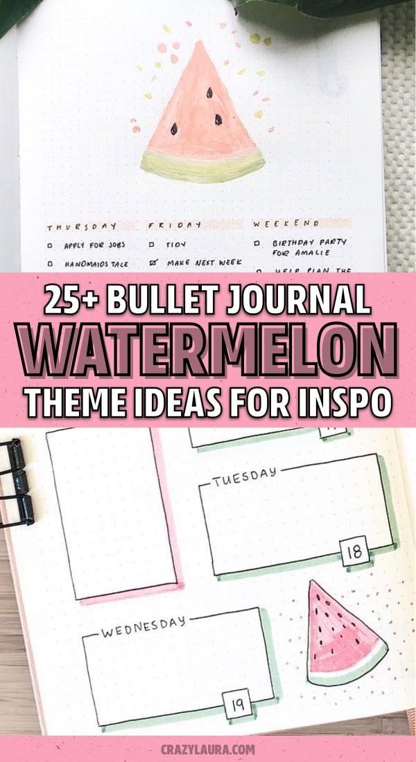 bullet journal watermelon theme inspiration
