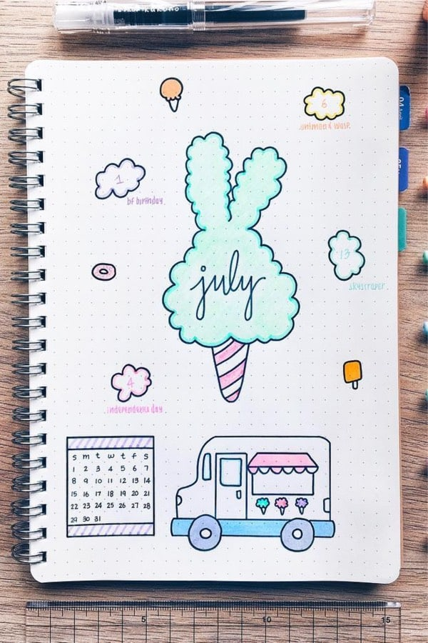 july bujo cover with ice cream truck
