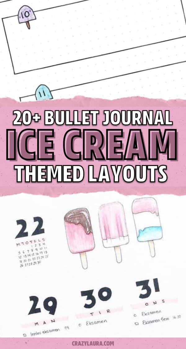 best bujo theme ideas with ice cream doodles
