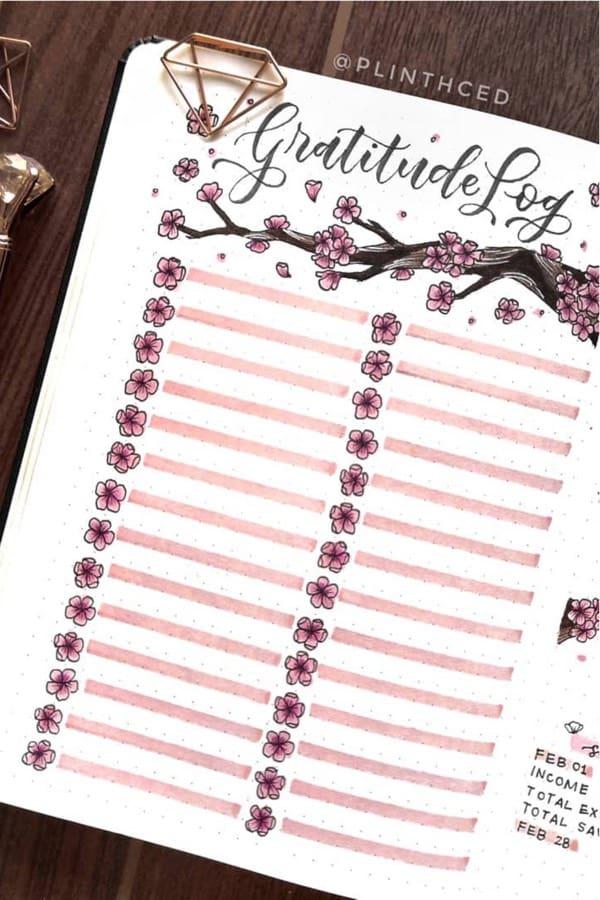 gradittude log for bullet journal