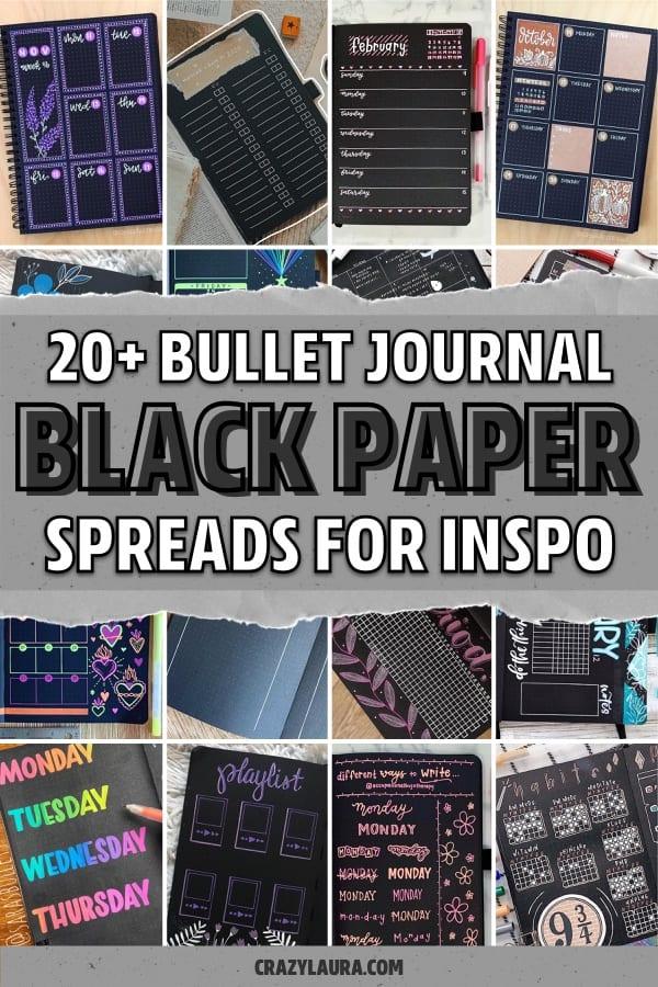 black paper bujo inspiration