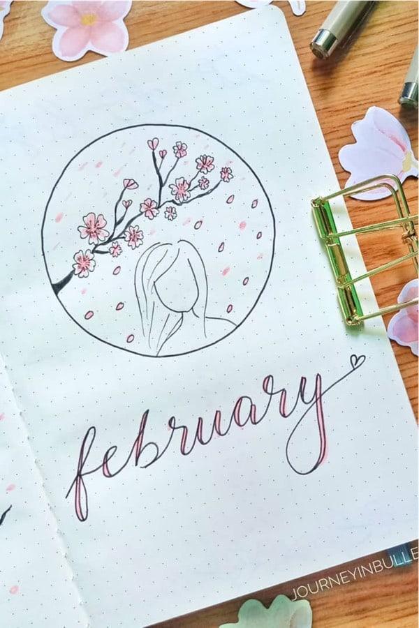 bujo cover spread with cherry blossom theme