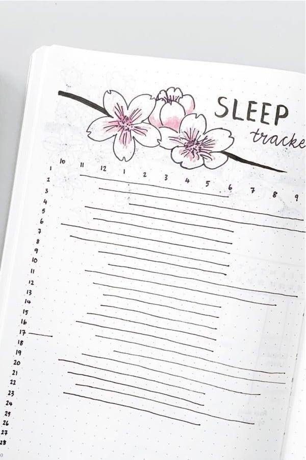 sleep tracker with cherry blossom theme