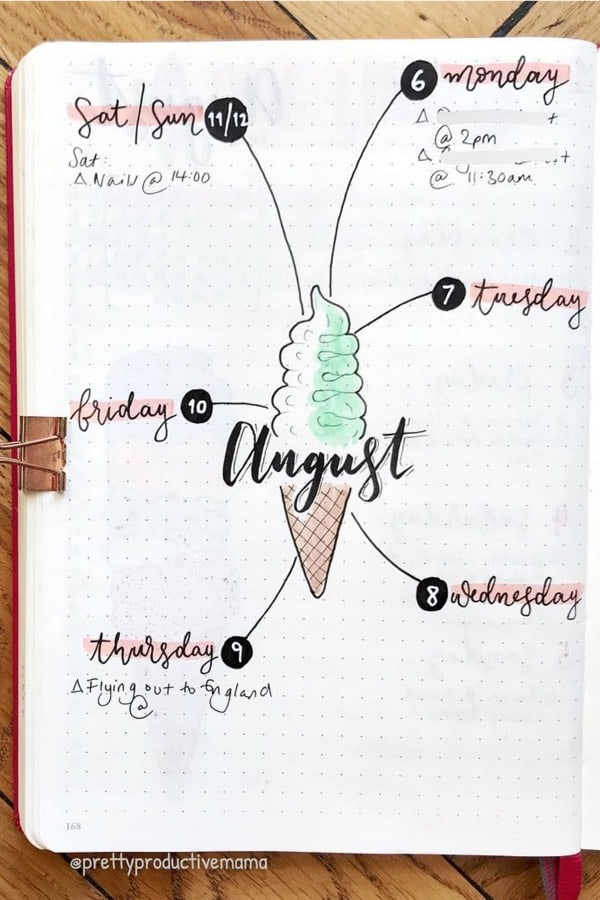 august weekly layout with ice cream theme