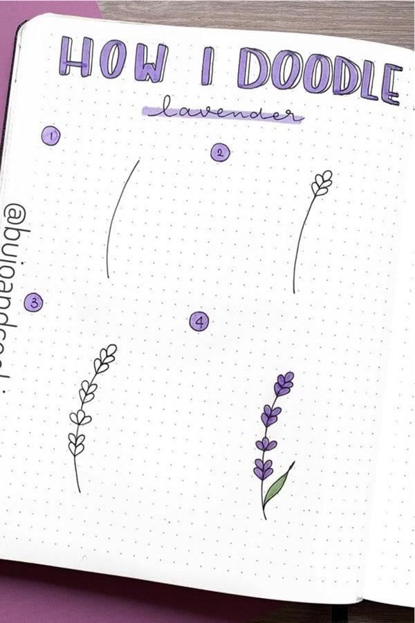 lavender themed bujo doodle tutorial